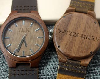 Father of the Groom Gift Personalized Wood Watch Anniversary Gifts for Boyfriend Watch for Groomsmen Wedding Gifts Set Wooden Watch Engraved