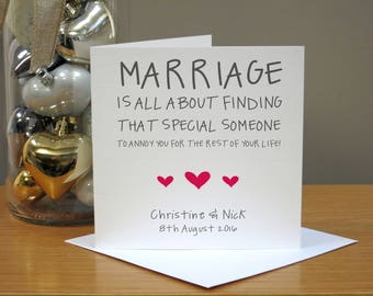 Funny Wedding Day/Anniversary Personalised Handmade Card Humour Funny Cheeky Mr & Mrs