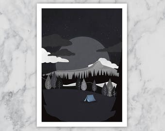 Sleeping Under The Stars A4 Print Camping Moon Mountains Clouds Illustration Tent Night