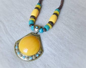 Colorful Ethnic Necklace | African Tribal Maasai Jewelry | brass pendant, beads, wood, amber resin | handmade in Kenya
