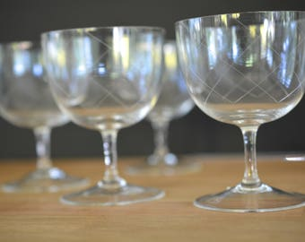 coupe champagne glasses, set of four, etched, vintage