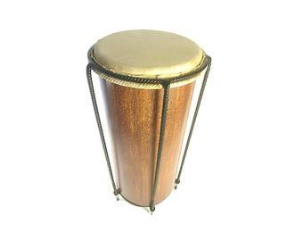 Mahogany 'akete' Nyabinghi drum 'repeater', handmade from reclaimed wood