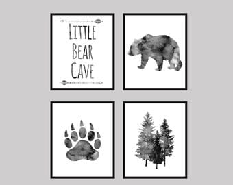 Baby boy Nursery Decor - 16x20 inch, Bear Cave, tree,Grey, Little Bear,Bear nursery,Nursery Quote Set of 4 Prints Nursery Art, gift for baby