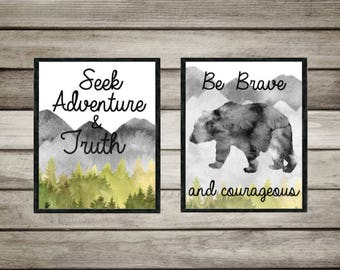 wildlife.Seek Adventure find truth be brave,Courage,neutral. nursery,gift.mountain,forest,trees,Watercolor, wall art,digital, Printable