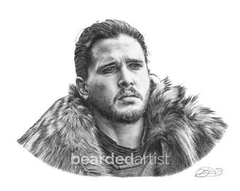 "8.5x11"" OR 11x17"" Print of Kit Harrington as Jon Snow from GAME of THRONES"