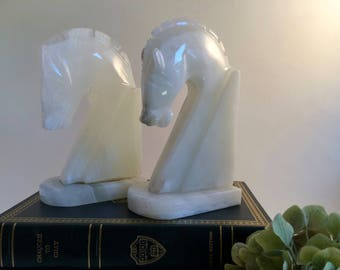 Vintage Horse Head Bookends Hand-carved Italian Onyx Natural Stone