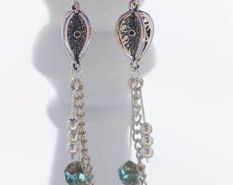 Silver drop earrings; Silver and turquoise earrings; Czech bead earrings; Boho statement earrings