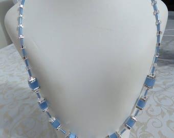 Pale blue cube/crystal rondelle necklace