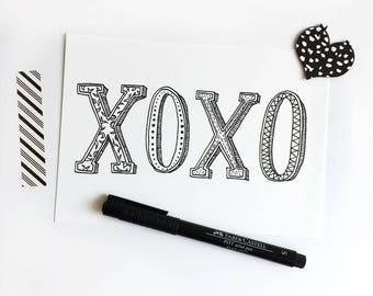 XOXO Hand Lettered Art Postcard, Print of Original Typography Illustration