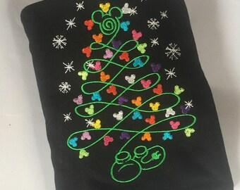 Mickey embroidered Disney christmas shirt Mickey xmas Tree Shirt Mickey Christmas Shirt matching family disney christmas sweatshirt tshirt
