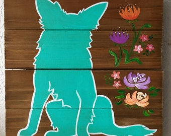 Acrylic Border Collie Dog Pet Wall Art Painting Flowers Wood Plank