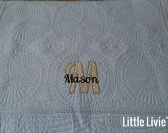Personalized baby blanket, Monogrammed baby quilt, Embroidered quilt, Baby Girl Quilt, Baby Boy Quilt, new baby quilt, baby shower gift