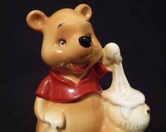 Vintage DISNEY Walt Disney Productions Winnie the Pooh with honeypot Porcelain Figure Japan 1960's