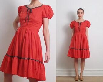 60s Red Swiss Dot Square Dance Dress / S