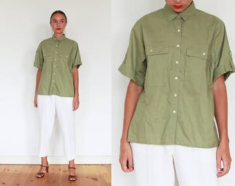 90s Olive Green Safari Shirt / M