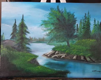 "Original Oil Painting on Hardboard & Varnished.12""×16"" North River. Free shipping. Oil painting home decor wall art."