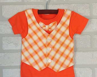 Orange T-shirt with Bow Tie and Vest