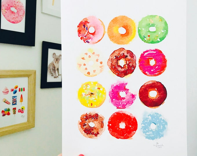 Iconic Australian Donut Rainbow Print - A4 Size Designed and Printed in Australia.