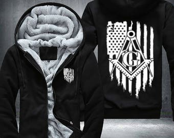 Freemason masonic Fleece Jacket Hoodie American Flag