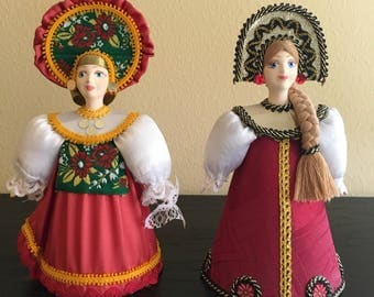 Two Handmade Russian Dolls in Traditional Costume