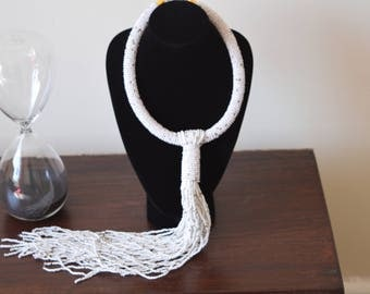 African Maasai Beaded Necklace | White Tie Necklace | African Jewelry | Tribal Ethnic Necklace | One size fits all | Gift for Her