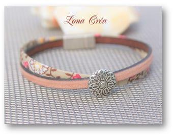 Bracelet Liberty and Vintage Beige leather - from Zamak flower