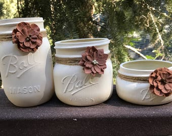 Mason Jar Desk Set, Dorm Decor, Desk Accessories, Painted Mason Jars, Desk Organization, Bathroom Decor, Desk Set, Teacher Gift