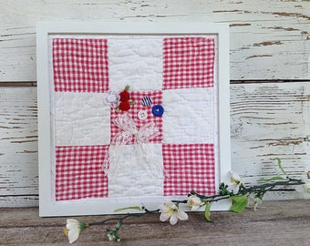 Red and white quilt, 4th of July decor, red and white patchwork, Americana decor, framed quilt block, red gingham fabric, fourth of July