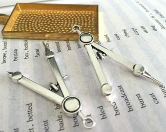 10 Pieces /Lot Antique Silver Plated 46mmx24mm pencil compass charms