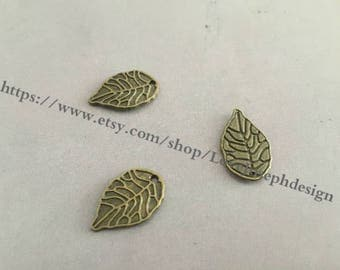 wholesale 100 Pieces /Lot Antique Bronze Plated 18mmx11mm leaf charms(#0385)