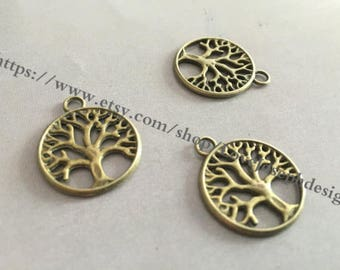 wholesale 100 Pieces /Lot antique bronze 20mm trees charms(#0532)