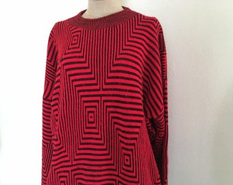Psychedelic Knit Sweater Pullover 90s
