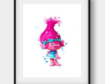 Trolls Poppy, Trolls Poster, Trolls Poppy Print, Home Decor Poppy, Trolls Party, Poppy Trolls Print, Trolls Kids Art, Trolls Room Decor