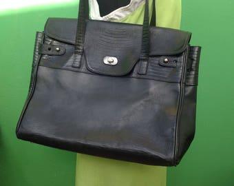 VTG 80s Vintage birkin style handbag/bag/80s leather bag/handbag style Birkin/