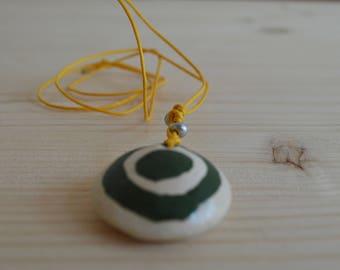 Ceramic target pendant necklace
