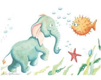 Cyrano and Blowfish illustration for customizable baby/toddler room
