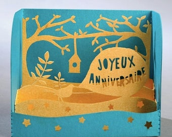 Solde -5% BIRD birthday card - made in France