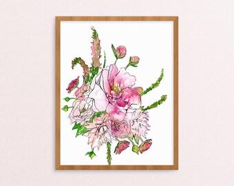 Peonies Print - Floral Artwork - Watercolor Painting - Floral Painting - Floral Art Print- Watercolor Nursery - Floral Nursery - Floral Art