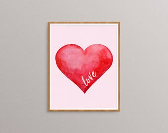 Watercolor Heart - Heart Print - Love Print - Heart Art - Red Heart Print - Valentine's Day - Modern Wall Art - Nursery Decor - Love Art