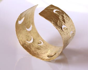 Cuff Bracelet, moons, Chiseled, hammered by hand, cuff, hammered effect