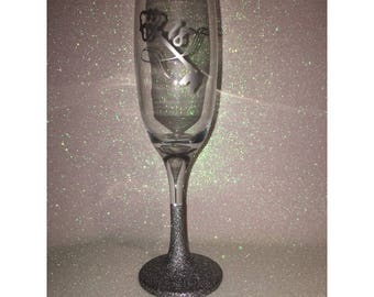 18th Birthday Glittered Champagne Flute