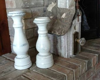 Wood Pillar Candle Holders