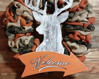 Welcome Wreath, Hunters Wreath, Camoflauge Wreath, Whitetail Silhouette, Cabin Decor, Log Home Decor, Hunting Wreath, Camo Wreath, Wreath