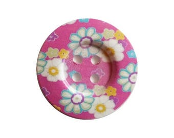 2 round wooden buttons sewing, child, 5 cm pink flower background scrapbooking