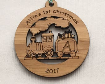 Personalised baby's 1st christmas bauble, 1st christmas decoration, Wooden decoration, wooden bauble, baby gift