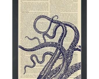Blue Kraken tentacles set Dictionary Art Print