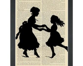 Vintage silhouette mother daughter dancing nursery Dictionary Art Print