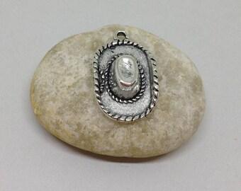 10 Pieces Cowboy Hat charms antique silver tone, Western Cowboy Charm, Western Cowgirl Charm