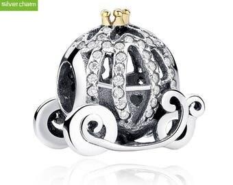 925 Sterling Silver Pumpkin Wagon Charm to Fit Original Pandora Charm Bracelets. Gift idea for Christmas, Birthday.
