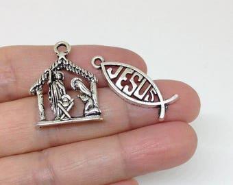 1/6/20pcs Nativity Scene Jesus Charms - Nativity Scene Pendants - Nativity Charms - Nativity